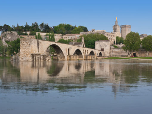 View on medieval Avignon's landmarks from another side of a Rhone river. Vue du Pont St Benezet et du Palais des Papes à Avignon, depuis une berge du Rhône