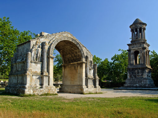 View of two ancient Roman Monuments in Glanum, Saint-Rémy de Provence, France - Monuments romain de Glanum à Saint-Rémy de Provence